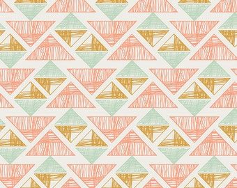 Crystal Arrowheads, Arizona Collection,  Aztec Fabric, Art Gallery Fabrics, April Rhodes, Coral and Mint Fabric, ARZ-555