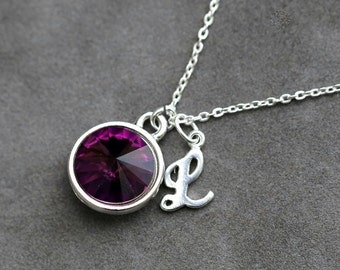 February Birthstone Jewelry, Personalized Birthstone Initial Necklace, Push Present, Purple Amethyst Sterling Silver Letter Necklace