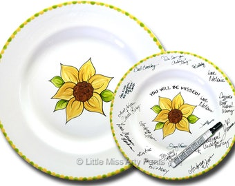 Free Shipping - Hand Painted Signature Plate - Sunflower Design - Guest Book Plate