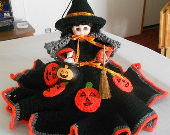 Collectible Halloween Witch Doll - Halloween Witch Decoration - Halloween Doll with Crocheted Dress - Witch Halloween Doll Decoration