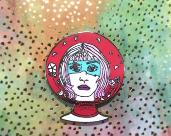 The Future is Female | Red Astronaut Hard Enamel Pin | Outer Space | gift for her | gift for women | backpack pin | woke girl | feminist pin
