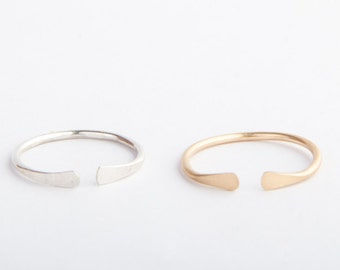 Open Adjustable Band, Hammered End, Stackable Gold Ring, Layered, Sterling Silver, Stacking Ring, Gold Rings