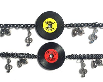 Record Oldies Soul Charm Bracelet with Silver Music Note & Drama Mask Charms (Choose Record Style)