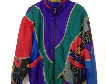 Vintage 80s Multicolors Nylon Light Jacket