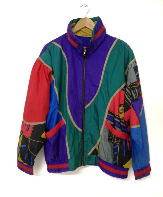 Vintage 80s Nylon Light Multicolors Jacket 1ddqHpxr