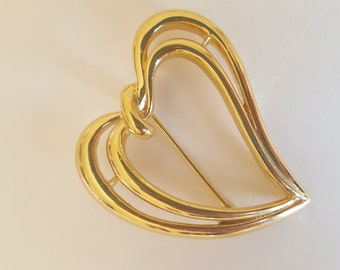 Vintage Trifari Gold-Toned Heart Pin/Brooch