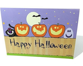 Happy Halloween - Pumkins on a Fence Greeting Card - 18 Cards/19 Envelopes - 16085