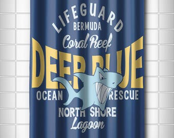 Deep Blue Shark Shower Curtain, Coastal Shower Curtain, Kids Shower Curtain
