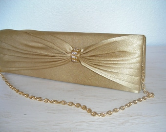 gold evening bag - shimmery purse with white rhinestones - shabby cottage chic - ornate hollywood regency