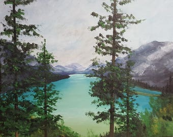 Original acrylic painting on box canvas of Meligne Lake, British Columbia, Canada