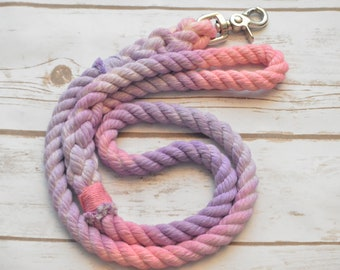 CARNATION: Light Pink and Light Purple All Natural Cotton Rope Dog Leash