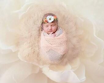 Newborn White Flower Tiara Crown Photo Prop Baby Crown Headband Newborn Princess Crown Photo Prop Baby Orange Tiara Headband Newborn Crown