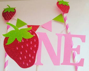 strawberry birthday,strawberry cake toppers, strawberry smash cake, sweet summertime party