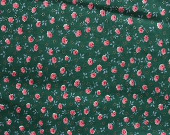 60's Pink Rose Calico Fabric on Blue-Green by Peter Pan Fabrics