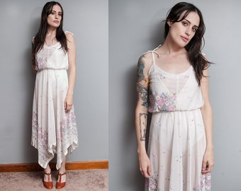 Vintage 1970's | White | Floral | Sheer | Spaghetti Strap | Dress | S