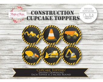 Construction Cupcake Toppers - Printable Download - Print as many as you need! - Dump Truck Party - Tonka - Construction Zone Party