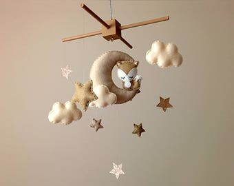 Fox Nursery Decor . Fox Baby Mobile . Neutral Nursery Decor . Moon & Stars Nursery Mobile . Brown Nursery Decor . Fox Cot Mobile