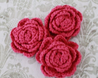 Lot of 3 Magenta Crochet Flower Appliques - 3D Ruffled Rose