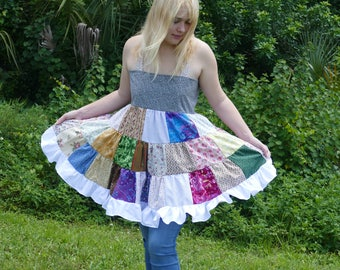 handmade patchwork apron dress halter top festival top