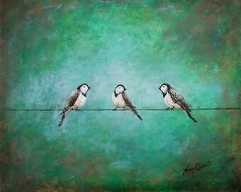 bird wall painting etsy