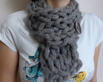 Chunky Cowl Scarf, Brown Cowl, Knit Neckwarmer Collar with Button