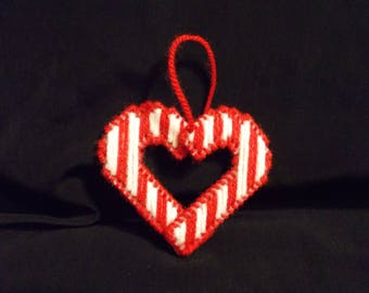 Plastic Canvas Candy Cane Heart Christmas Ornament