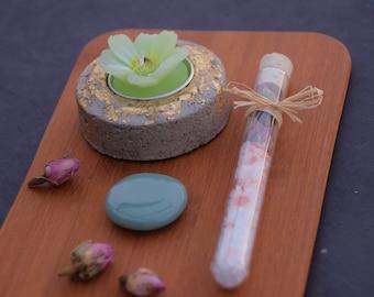 Frühlingsset - Meditation's Set - Geschenk für Muttertag - Geschenk für Sie - Badesalz - Aventurin - Beton Teelicht - Teelichthalter
