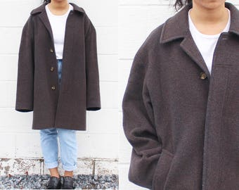 Plum Oversized Wool Coat Longline Wool Coat