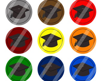 INSTANT DOWNLOAD / Graduation Caps / Various Colors / Digital Bottle Cap Image Sheet / 1 Inch Circles / 4x6 Collage Sheet / # BC195