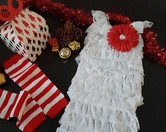 Box Christmas gift baby girl: romper with lace leggings white red Daisy hair clip / idea original Christmas baby girl gift