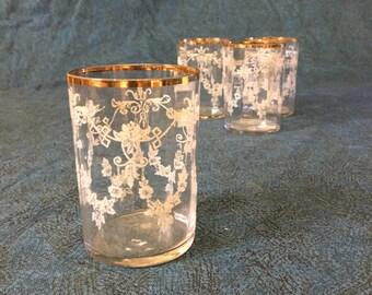 Vintage Etched Floral Juice Glasses with Gold Rim, Set of 4