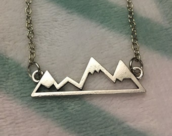 Mountains Necklace | mountain necklace, mountain jewelry, mountain range, mountain pendant, traveling, gift for her, exploring, hiking gift