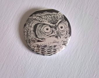 Wide-Eyed Owl Vintage Pinback Button --- Retro Wildlife Illustration Badge --- 1930's Nature Bird Halloween Accessory Pin Stocking Stuffer