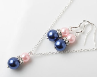 Navy and Pink Bridesmaid  Jewelry Set Navy blue and Pink earrings and necklace Navy wedding jewelry set, bridesmaid gift, Bridal party gift