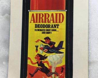 Vintage 70s Wacky Pack Stickers AIRRAID Deodorant Topps Wacky Packages Funny Stickers