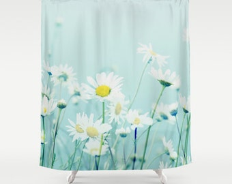 Shower Curtain - Daisy, Daisies, blue green mint  - Nature Photograpy by RDelean Designs