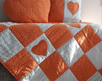 Patchwork quilt blanket 147*128,  pillow and a pillowcase. Free shipping