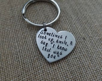 Sympathy Gift- Hand Stamped Loss Key Chain- Signs from Heaven- Memorial Gifts- Angels All Around Us- Bereavement Gift- In Memory- Custom