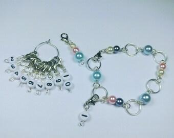 Row Counter Bracelet - beaded bracelet - progress keeper - stitch markers - crochet and knit row counter -