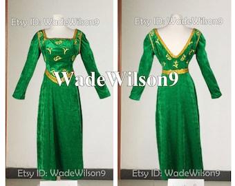 Shrek Fiona Princess Dress Cosplay Costume Handcraft Size & Fiona costume | Etsy