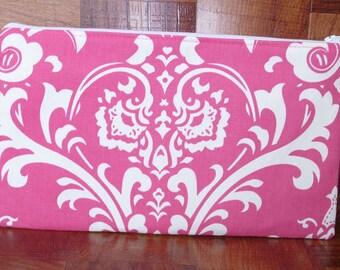 Clutch Purse - Hot Pink & White Damask