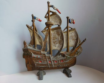 Vintage cast metal ship Valcast sailing ship Metal galleon