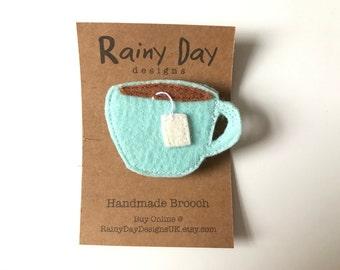 Handmade Blue Teacup Brooch