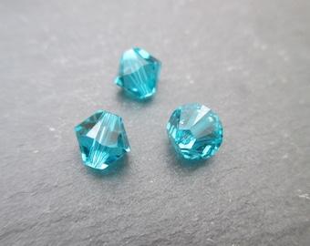 Top 6 mm: 4 beads blue zircon Swarovski Crystal