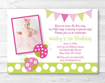Pink Ladybug Birthday Invitation / Ladybug Birthday Invite / Pink & Green Ladybug / Any Age / PRINTABLE A376