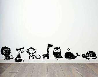 Animals Set of Seven Vinyl Decal Stickers Cute Kids Room Decor