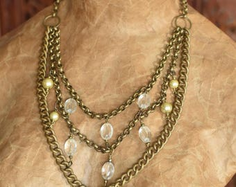 Upcycled Brass Chain Statement Necklace