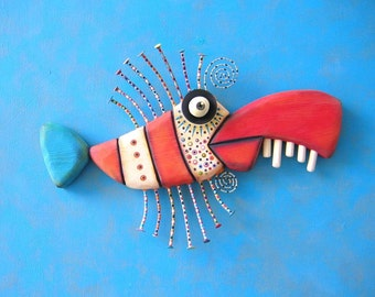 Twisted Tuna, MADE to ORDER, Original Found Object Wall Sculpture, Wood Carving, Wall Decor, by Fig Jam Studio