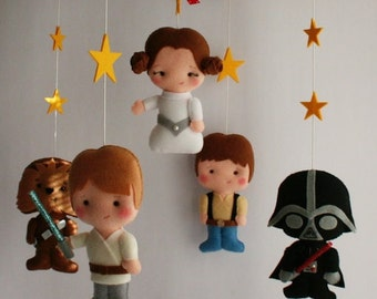 Baby Felt Mobile Star Wars Mobile Hanging Mobile Princess Leia Han Solo RD2 C-3PO Luke Skywalker Chewbacca Baby Shower Gift Space Mobile 2