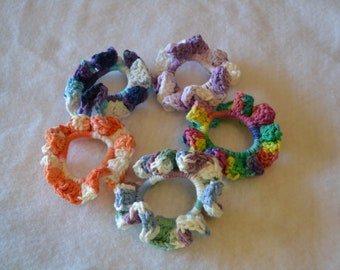 Ready to ship hand crocheted hair ties/ Easter basket stuffers/ hair accessories/ crocheted hair accessories/ teen hair trends/